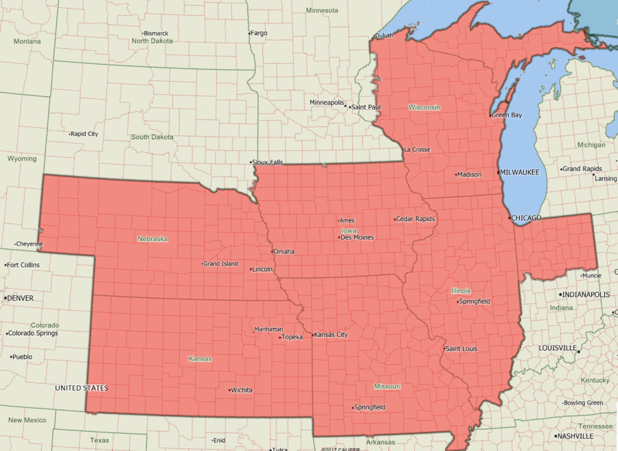 Territory map for DPC Midwest, DPC Great Lakes, and DSC St. Louis